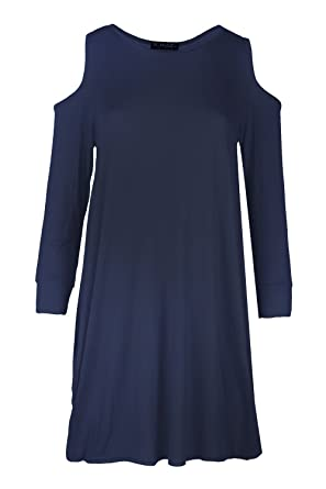 a36442b9669 Womens Ladies Cold Cut Shoulder Long Baggy Oversized Tunic Tulip Mini Dress  Top Plus Size (UK 16 18) Navy  Amazon.co.uk  Clothing