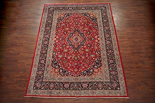 Vintage 8X11 Persian Kashmar Area Rug - Red 1960's Hand-Knotted Wool Carpet (8' 2