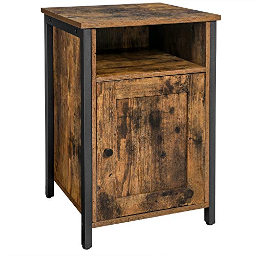 VASAGLE Nightstand with Storage, Bedside Table with Door, End Table, Steel Frame, Adjustable Shelf, Industrial Style…