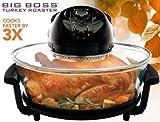 Countertop Roaster Big Boss 8861 1300 Watt Oval Rapid Wave Oven and Turkey Roaster, Black, 17.5 Quart
