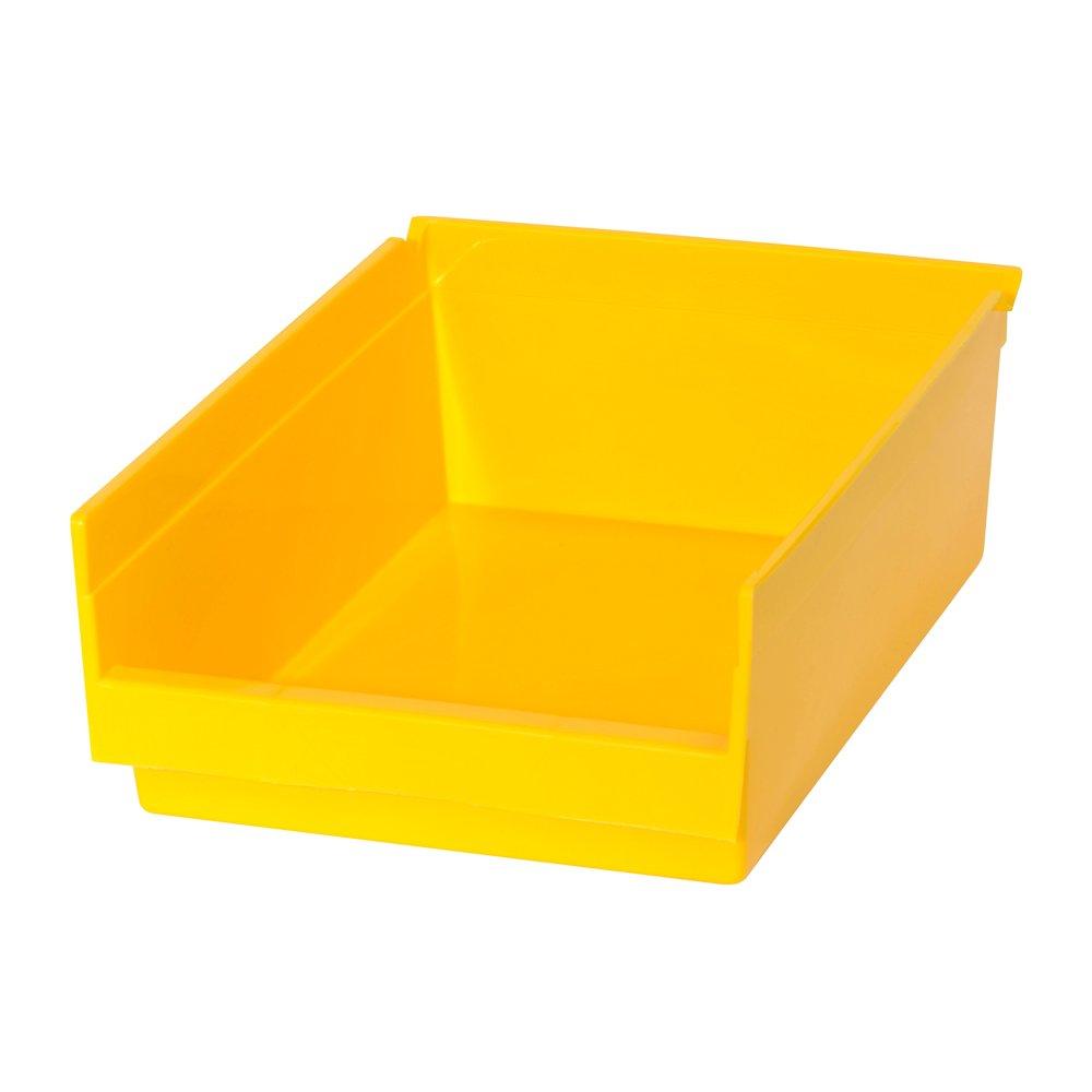 Edsal PB302 Heavy Duty Plastic Bin, 8'' Width x 4'' Height x 12'' Depth, Yellow (Pack of 24 )
