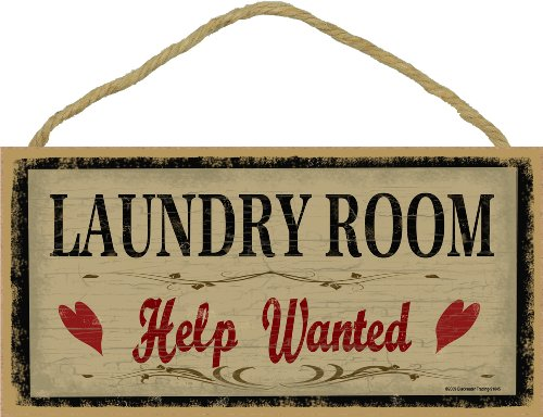Country Laundry Room Decor - Laundry Room Help Wanted Rustic Primitive Sign Plaque Decor 5
