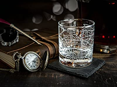 Greenline Goods Whiskey Glasses - 10 Oz Tumbler Gift Set, Etched with a city map | Old Fashioned Rocks Glass - Set of 2
