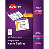 Avery Name Badges with Lanyards, Print or Write, 3'' x 4'', Badge Holders & Lanyards, 100 Inserts (74459)