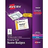 #10: Avery 74459 Neck Hang Badge Holder w/Laser/Inkjet Insert, Top Load, 3h x 4w, White (Box of 100)