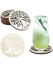 JelyArt Onderzetter voor glazen, set van 8 beukenhouten onderzetters, onderzetter voor dranken, kopjes, koffie, bar - houten onderzetters, herbruikbaar (levensboom)
