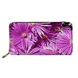 JUSICA Purple Flower Pattern PU Leather Card Holder Clutch Long Clutch Wallet Travel Shopping Cash Card Wallet