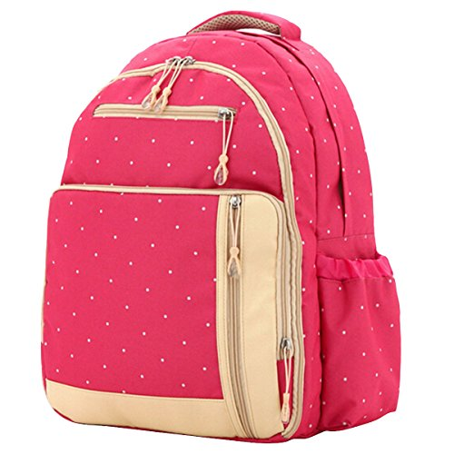Aivtalk Bolso Maternal Mochila Multifunción Cambiador de Pañales Backpack para Carro Carrito de Bebé Biberón Botella Comida Viaje 30cm(L) x 19cm(W) x 41cm(H) - Floral Lunares Rosa Lunares