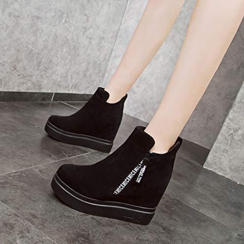 KPHY Damenschuhe Schleifen Schuhe Heel 9Cm Innerer Größe Größe Größe Martin Stiefel Dicke Sohle Fuß Steigung Samt Stiefel Baumwolle ac6030
