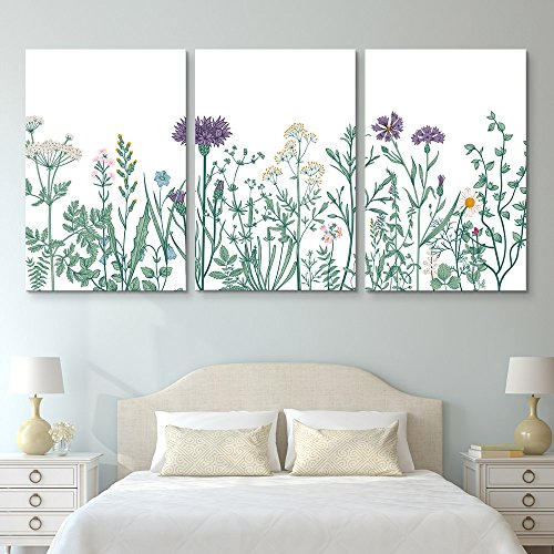 3 Panel Hand Drawing Style Colorful Plants and Flowers Gallery x 3 Panels