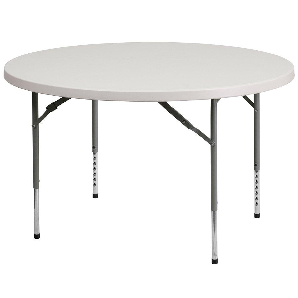 Flash Furniture 48 Round Height Adjustable Granite White Plastic Folding Table RB-48-ADJUSTABLE-GG