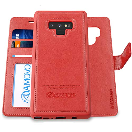 AMOVO Case for Galaxy Note 9 [2 in 1] Samsung Galaxy Note 9 Wallet Case [Detachable Folio] [Vegan Leather] [Wrist Strap] [Card Slot] [Kickstand] Note 9 Flip Case with Gift Box Package (Note 9, Red)