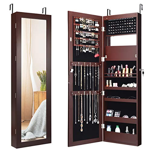 Giantex 12 LEDs Jewelry Cabinet Wall Mounted, Lockable Jewelry Armoire with Full Length Mirror, Cosmetics Tray, Lipstick Brush Holders, Build-in Makeup Mirror, Jewelry Cabinet for Women Girls (Brown)