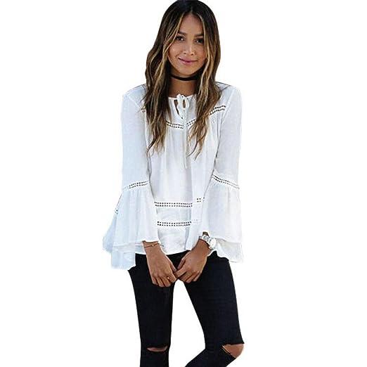 RETUROM otoño de las mujeres flojas delgadas de la blusa de manga larga Casual tapas de la camisa (S)