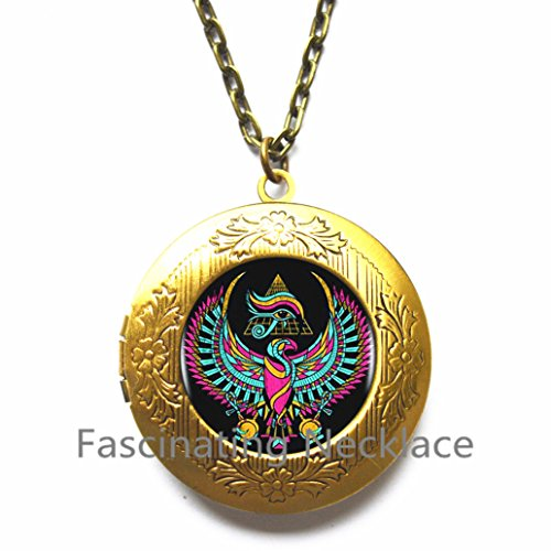 (Eye Of Horus Logo Locket Pendant Locket Necklace Fashion Art Vintage Black Chain Choker Statement Locket Necklace Jewelry Art of Locket Necklace,AE0087)