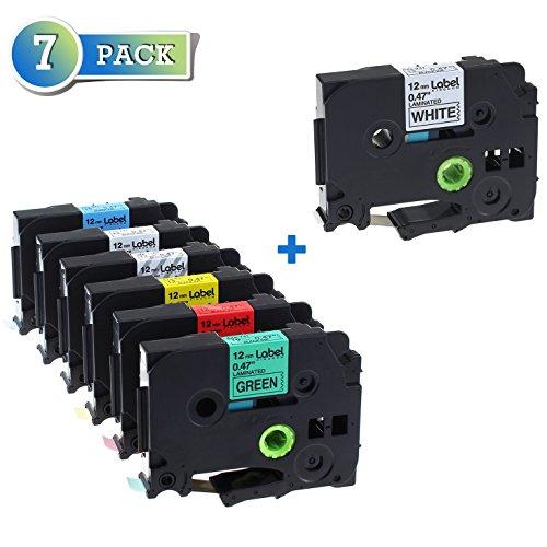 Label KINGDOM Compatible Brother P-Touch Label Tape, 1/2 Inch x 26.2 Feet TZ TZe Standard Laminated Tape, Combo Set Replacement TZ131 TZ231 TZ431 TZ531 TZ631 TZ731, 7 Pack
