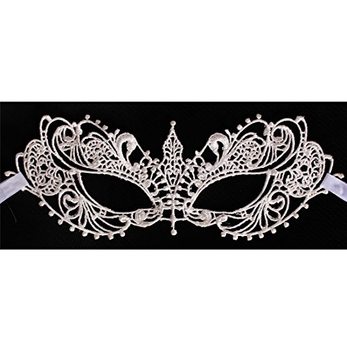 [Andux Land Sexy Lace Mask with straps Fancy Halloween Party Masquerade Bar Nightclub queen Dance Mysterious Soft for eyes for Women and Girl LSMJ-01 (white] (Soft And Sexy Mask)