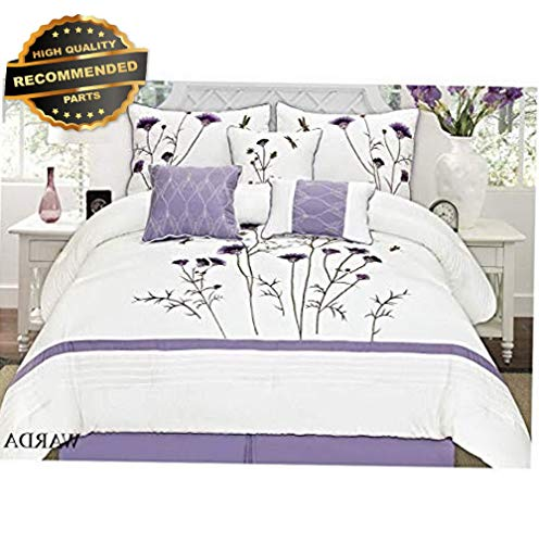 Gatton Premium New White Comforter Sets Lavender Purple 7 Pcs Embroidery (King) | Style Collection Comforter-311012983