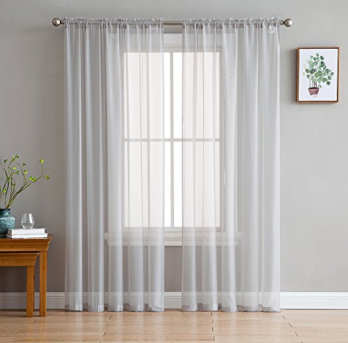 HLC.ME Silver Grey Sheer Voile Window Treatment Rod Pocket Curtain Panels for Bedroom and Living Room (54 x 84 inches Long, Set of 2) (Silver Curtains Grey)