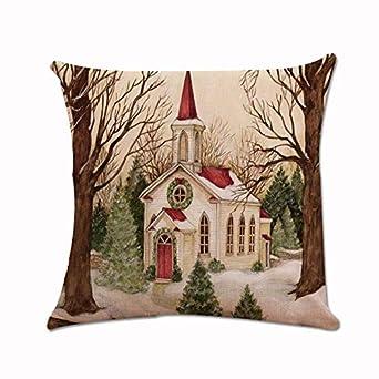 Navidad Throw Pillow Case Funda de Almohada para Cojín Retro ...