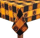 """Nantucket Home Checkered Pumpkin Cotton Jacquard Tablecloth (60"""" x 102'' Rectangle/Oblong)"""