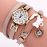 Women Watch,Mailat Women Fine Leather Band Winding Analog Quartz Movement Wrist Watch (Beige)