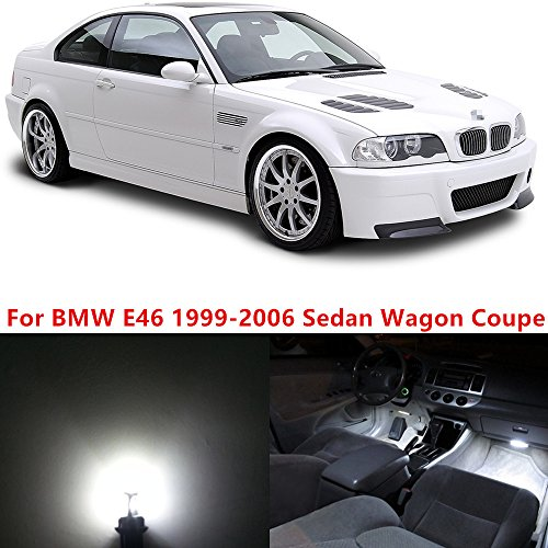 Wagon E46 (WLJH 17x Pure White Canbus Error Free Car Map Mirror Lighting Package Interior Led Kits for BMW E46 1999-2006 Sedan Wagon Coupe)