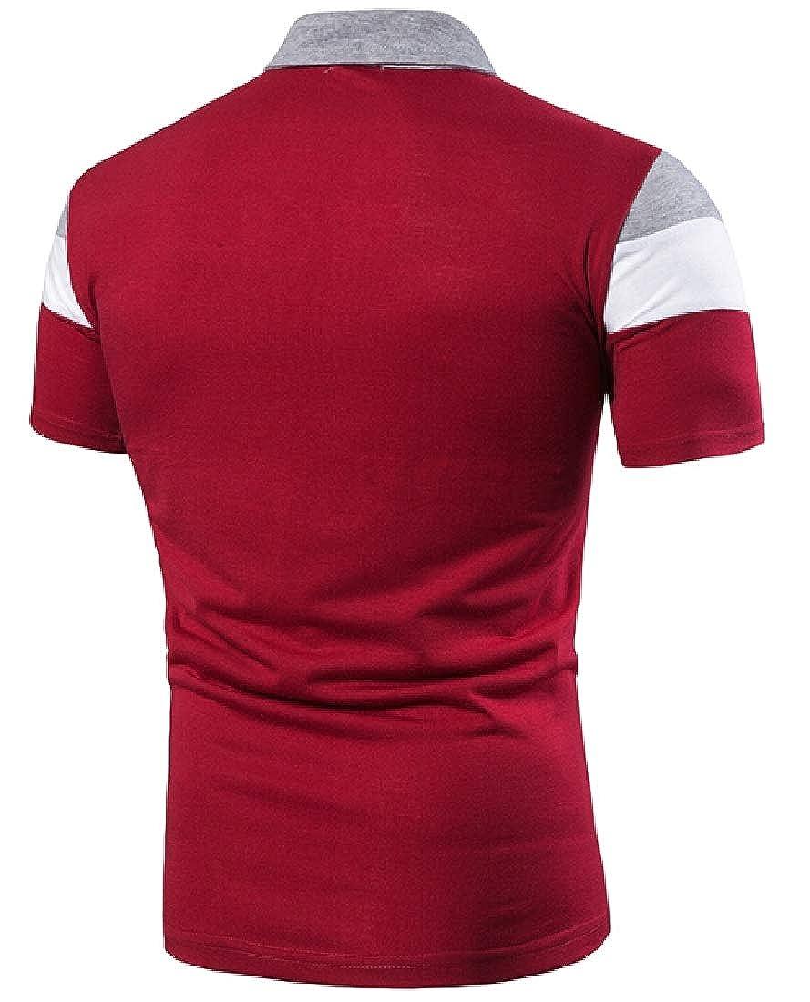 CYJ-shiba Mens Short Sleeve Polo Shirts Casual Stripe Basic Summer Cotton Shirts