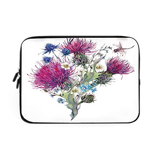 - Dragonfly Laptop Sleeve Bag,Neoprene Sleeve Case/Summer Natural Meadow Herbs Bouquet Wild Thistles Chamomiles Watercolor Boho Art/for Apple MacBook Air Samsung Google Acer HP DELL Lenovo Asus