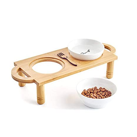 Daeou Cuenco de Mascotas Tazón de Fuente Doble muñeca cerámica cerámica bambú Gato Comida Bowl Cat