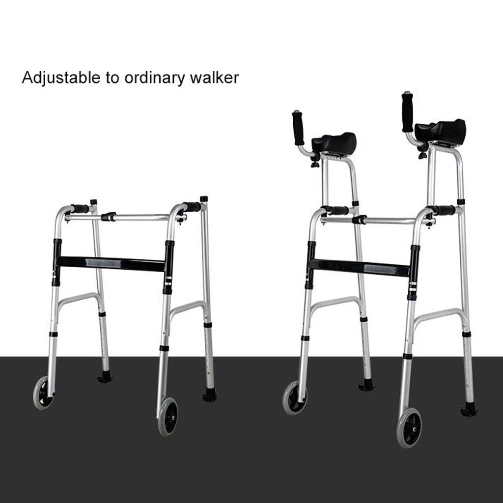Folding Lightweight Aluminium Walking Frame with Wheels, Ergonomic Handle and Handbag Walking Mobility Aid Auxiliary Walking Safety Walker (Color : Deluxe Version) by YL WALKER (Image #6)