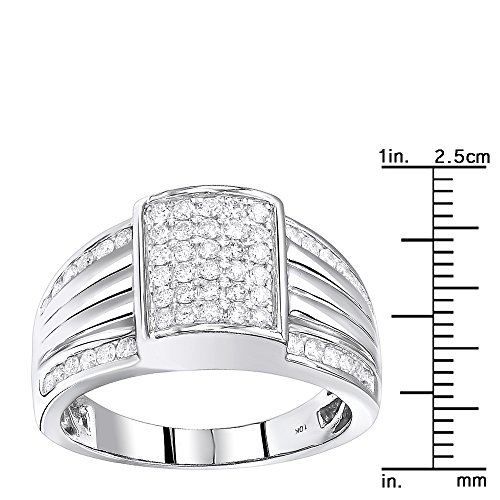 Mens 10K Gold Diamond Band Pinky Ring 1ctw (White Gold, Size 9.5) by Luxurman (Image #2)