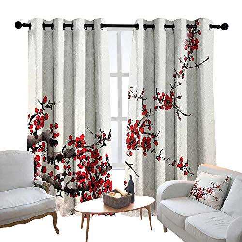 - Lewis Coleridge Pattern Curtains Art,Cherry Blossom Sakura Tree Branches Ink Paint Stylized Japanese Artful Pattern,Red Cream Brown,Living Room and Bedroom Multicolor Printed Curtain Sets 54