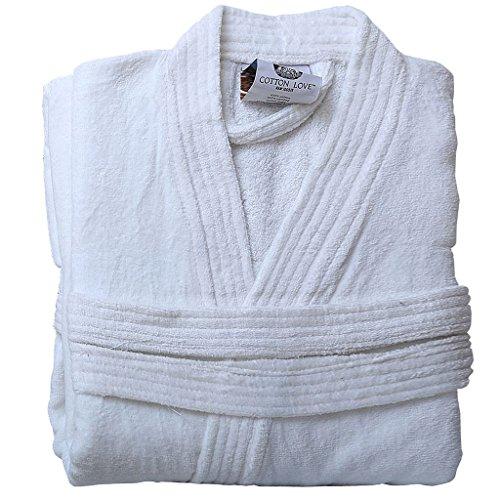 Para hombre y mujer 100% algodón egipcio rizo adultos cuello bata albornoz noche desgaste ropa casa abrigo con bolsillos y cinturón Kimono White