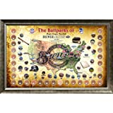 MLB Milwaukee Brewers Major League Baseball Parks Map 20x32 Framed Collage with Game Used Dirt From 30 Parks