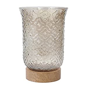 Stonebriar High Plains Clear Glass Brown Luster with Wood Base Hurricane