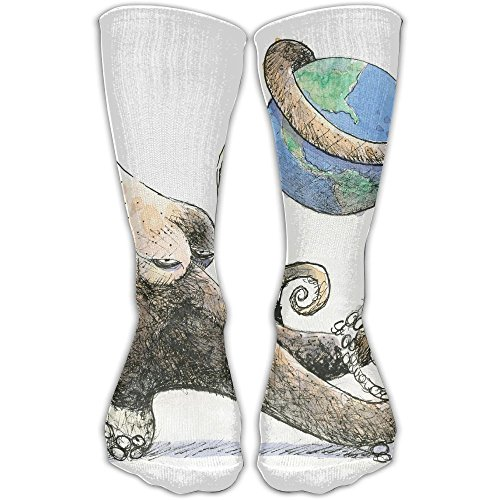 WEEDKEYCAT Ocean Octopus Earth Globe Knee High Socks For Mens Womens Adult Cotton Classic Long Socks For Yoga Hiking Cycling Running Soccer Sports