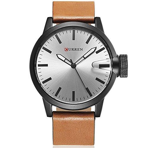 CURREN Original Brand Men's Sports Waterproof Leather Strap Wrist Watch 8208 Black brown gray