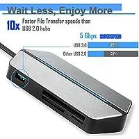 Zforce USB-C All In One Hub Portable Adapter SD/TF Card Reader Compact Flash HDMI VGA Type-C Port USB 3.0 3.5mm Audio Port Lightweight Sleek Modern Design Space Gray
