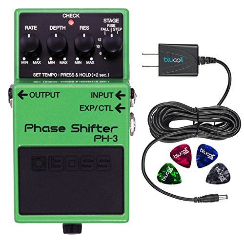 BOSS PH-3 Phase Shifter Shifting Pedal with Tap Tempo -INCLUDES- Blucoil Power Supply Slim AC/DC Adapter for 9 Volt DC 670mA AND 4 Guitar Picks