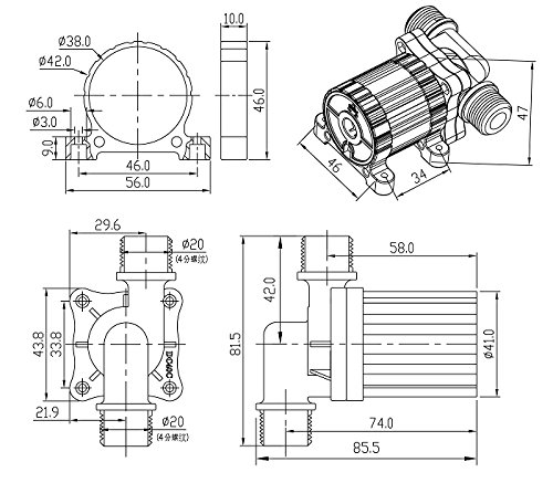 Aubig /Ölpumpe Wasserpumpe Gartenpumpe Tauchpumpe Aquarienpumpe Solar 24V DC B/ürstenlos Magnetische Treiber Pumpe DC40C-2445 1.1A 26.4W 1080L//H 4.5M//14.6ft