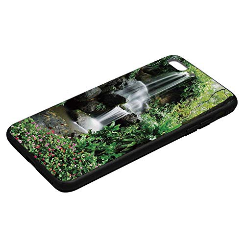 Waterfall Utility Phone Case,Waterfall Pond Flowers Tropical Plants Majestic Fresh Jungle Garden Compatible with iPhone 8 Plus, iPhone 8 Plus