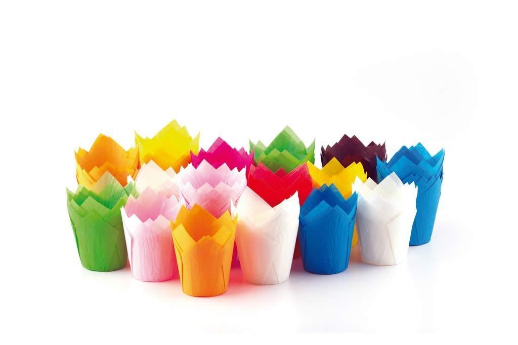 ecobake Multi Color Mini Tulip Cupcake Liner moldes de papel tazas fácil liberación Muffin Moldes/sin necesidad de spray de tazas de fácil liberación ...
