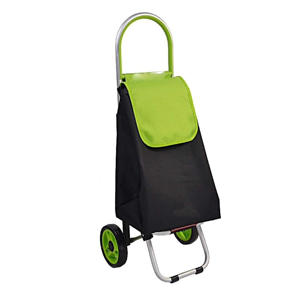 Lxrzls Shopping Cart, Hand Truck, Trolley Car Can Be Portable, Shopping Cart Folding (Color : Green)
