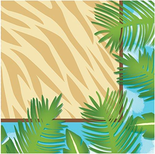 Creative Converting 16 Count 3-Ply Safari Adventure Beverage Napkins, Brown/Green -