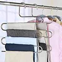 devesanter Pants Hanger Multi-Layer S-Style Jeans Trouser Hanger Closet Organize Storage Stainless Steel Rack Space Saver for Tie Scarf Shock Jeans Towel Clothes(4 Pack )