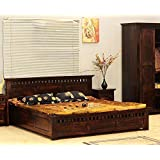 WOOD CRAFT King Size Sheesham Wood Bed with Storage (Dark Brown Finish)
