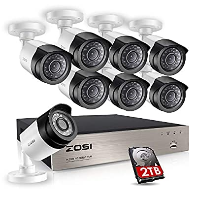ZOSI 8CH Full True 1080P HD-TVI DVR Recorder HDMI with 4X 1980TVL Indoor Outdoor Surveillance Security Dome by Zosi