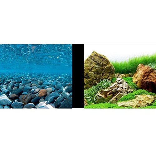 Marina 11759 Double-Sided Aquarium Background, Stoney River/Japanese Garden Scenes, 61cm H x 7.6m L (18-Inch H x 25-Feet L) Rolf C. Hagen Inc. 11758