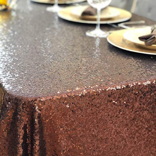 Glitter Tablecloth Party Table Cloth - 90 x 156 Premium Colored Moroccan Copper, Chocolate, Gold, Rose Gold, Sequin Table Cloth for Parties - Manteles de Mesa de Tela Para Fiesta